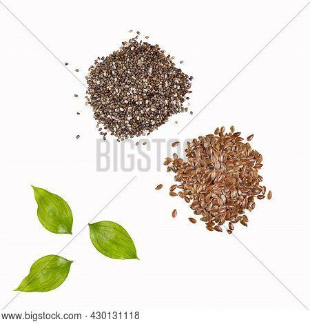 Organic Flax And Chia Seeds. Linum Usitatissimum - Salvia Hispanica