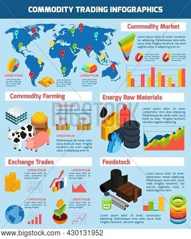 Commodity Trading Infographic Set With Commodity Market Symbols Isometric Vector Illustration