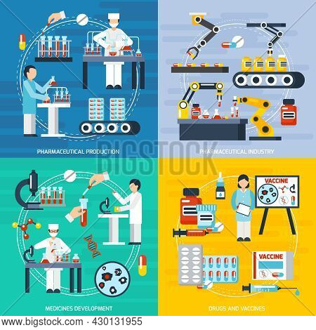 Pharmaceutical Production Concept Icons Set With Pharmaceutical Industry Symbols Flat Isolated Vecto