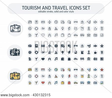 Vector Editable Stroke, Solid, Color Style Icons Set With Travel, Tourism Outline Symbols. Summer Va