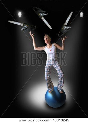 a girl juggling