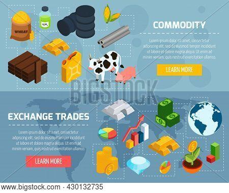 Commodity Horizontal Banners Set With Exchange Trade Symbols Isometric Isolated Vector Illustration