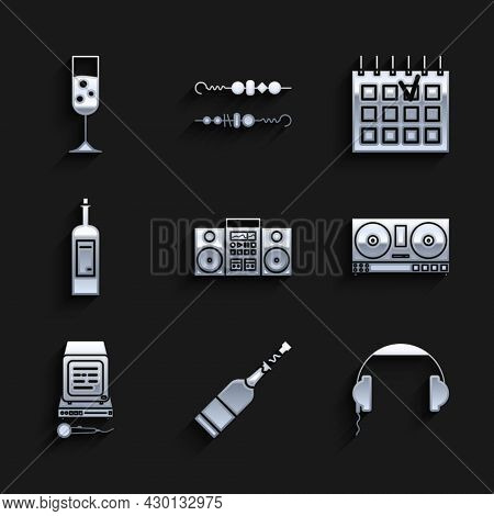 Set Home Stereo With Two Speakers, Champagne Bottle, Headphones, Dj Remote For Playing And Mixing Mu