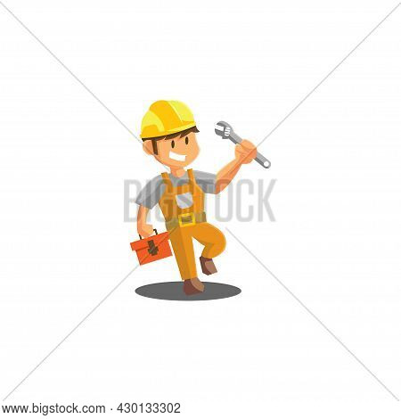 Repair Man Holding Wrench Worker Mechanic Workshop Emblem Badge Mascot Illustration