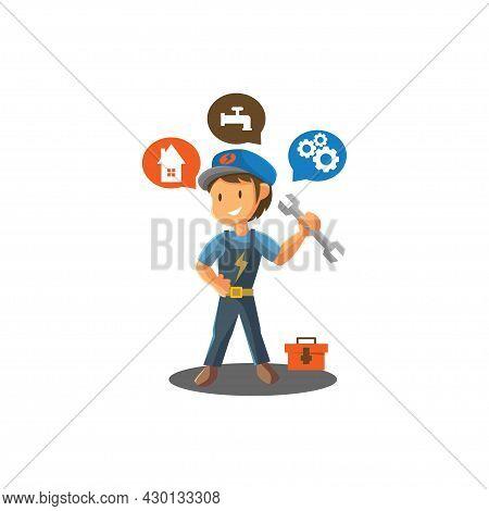 Repair Man Holding Spanner Worker Mechanic Workshop Emblem Badge Mascot Illustration