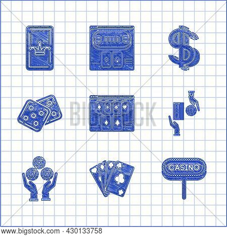Set Online Poker Table Game, Playing Cards, Casino Signboard, Chips Exchange On Stacks Of Dollars, H