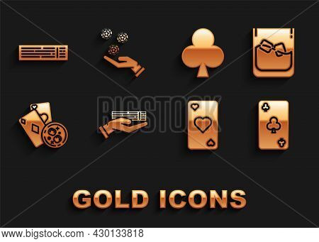 Set Hand Holding Deck Of Playing Cards, Glass Whiskey Ice Cubes, Playing With Clubs Symbol, Heart, G