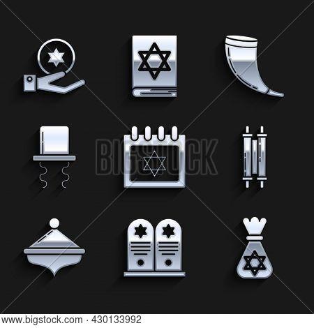 Set Jewish Calendar With Star Of David, Tombstone, Money Bag, Torah Scroll, Hanukkah Dreidel, Orthod