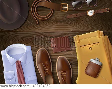 Men Wear Lay Set With Fashion Symbols On Wooden Background Cartoon Vector Illustration