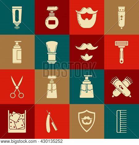 Set Hairbrush, Crossed Electrical Hair Clipper Or Shaver, Shaving Razor, Mustache And Beard, Cream L