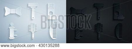 Set Hairbrush, Shaving Gel Foam, Classic Barber Shop Pole, Razor And Bow Tie Icon. Vector