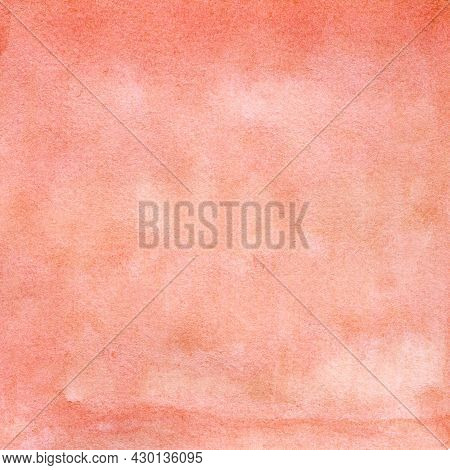Peach-scarlet Watercolor Texture With Spots, Dots, Blurred Circles