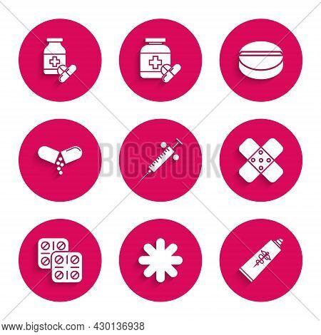Set Syringe, Cross Hospital Medical, Ointment Cream Tube Medicine, Crossed Bandage Plaster, Pills Bl