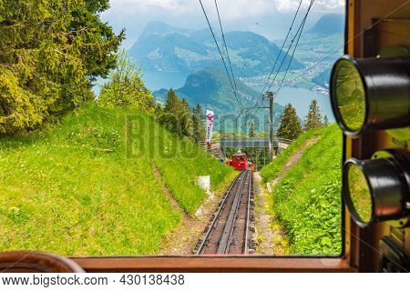 Luzern, Switzerland, June 05, 2016: Cog train and railway on Pilatus Mountain. Switzerland.