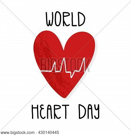World Heart Day Card, Banner Design With Lettering. Cardiovascular Disease Awareness Day. A Heart Wi