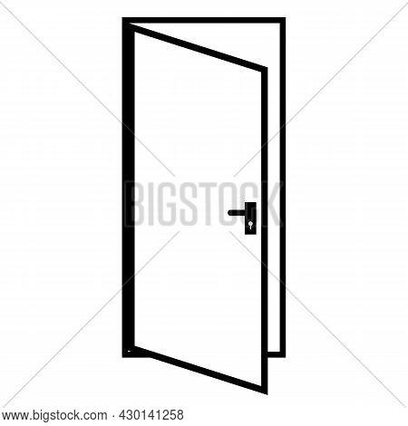 Door Linear Icon On White Background. Door Open Sign. Door Symbol. Flat Style.