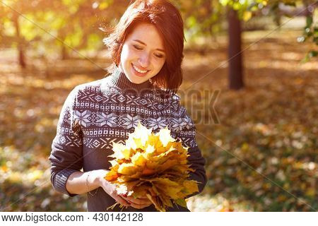 Happy Caucasian Young Woman In A Sweater Holds Bright Autumn Leaves In Her Hand. Happy Smiling Girl