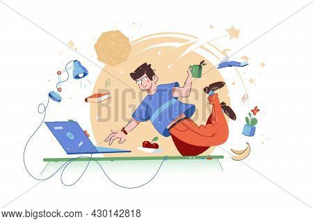 Clever Guy Fly In Work Space Vector Illustration. Creative Character Floating In Workplace Flat Styl