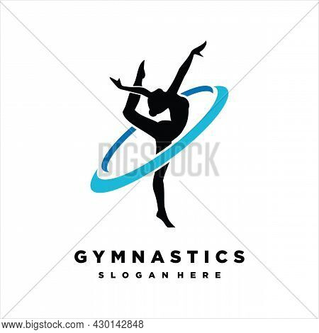 Gymnastic Logo. Vector Illustration, Gymnast Girl Silhouette Isolated On A White Background. Young W