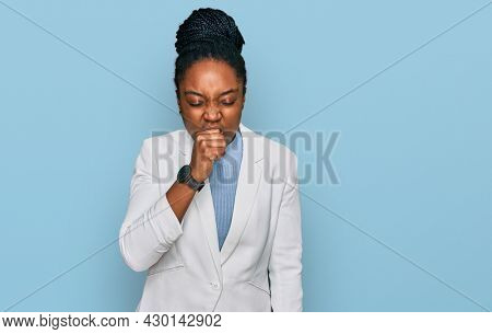 Young african american woman wearing business clothes feeling unwell and coughing as symptom for cold or bronchitis. health care concept.