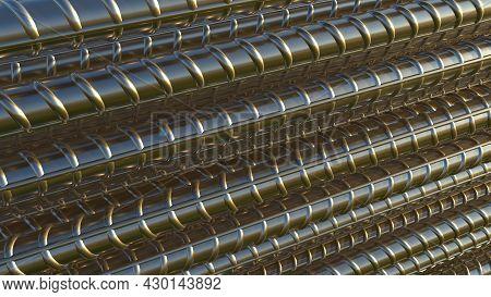 Steel Rebar Backdrop. Isolated Industrial 3d Illustration