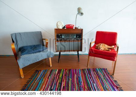 Vintage room with retro radio turntable, telephone and standart lamp, red cat resting on old fashioned armchair. Interior of 20th century, nostalgia