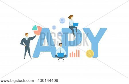 Apy, Annual Percentage Yield. Concept With Keyword, People And Icons. Flat Vector Illustration. Isol