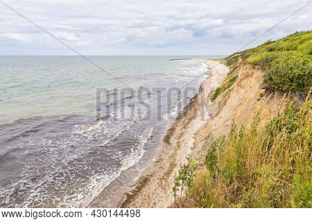 Beach at Ahrenshoop on the German Baltic Sea coast, view from the top of the cliff