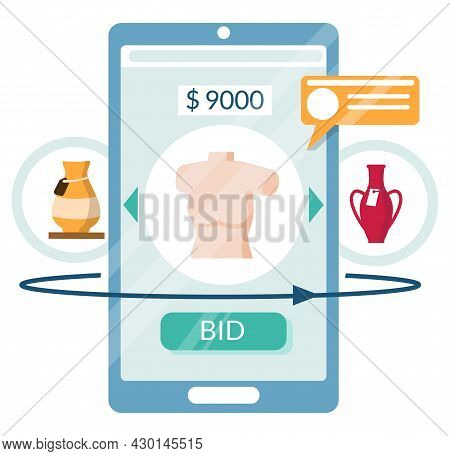 Mobile Phone Auction. Antique Vase, Sculpture Art Sale, Vector Illustration. Market Trade. Online Au
