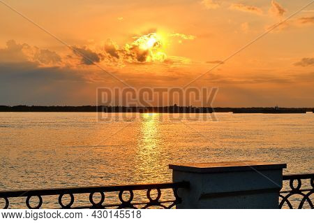 Sunset On The Amur River Embankment In Khabarovsk, Russia.