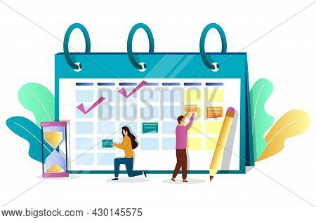 Business People Employees Planning Schedule On Calendar, Vector Illustration. Time Management. Campa