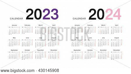 Colorful Year 2023 And Year 2024 Calendar Horizontal Vector Design Template, Simple And Clean Design
