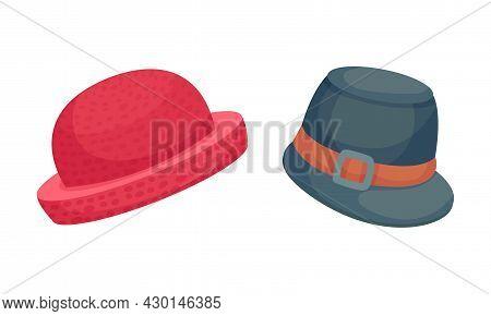 Set Of Headgears, Male And Female Fashion Headwear Cartoon Vector Illustration