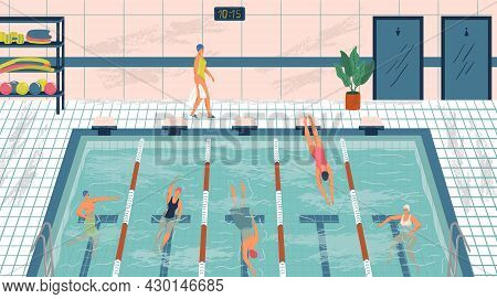 Sport Professional Swimming Pool With Lanes. People Swim In Public Swimming Pool Vector Illustration