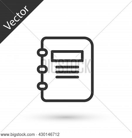 Grey Line Notebook Icon Isolated On White Background. Spiral Notepad Icon. School Notebook. Writing