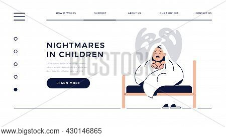 Nightmares In Children Web Template. Scared Boy Hides Under Blanket From Ghost, Child Is Frightened