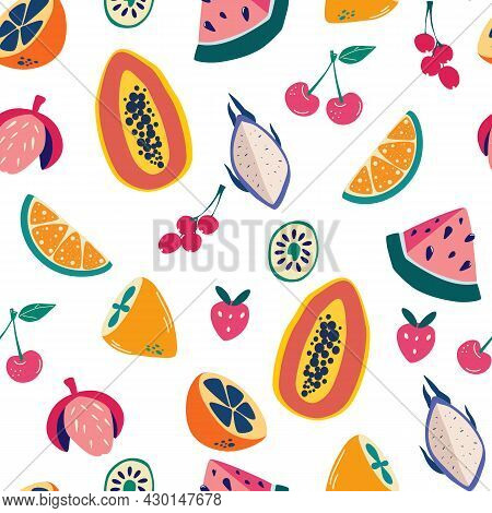 Exotic Fruits Seamless Pattern. Hand Draw Colorful Fruit Mix. Summer Vibes.  Modern Exotic Design Fo