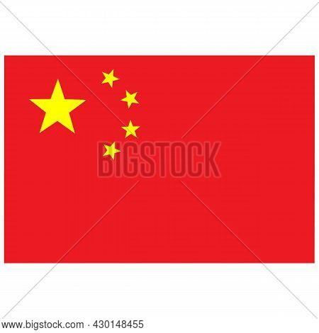 China Flag On White Background. National China Flag Sign. Official Colors And Proportion Correctly.