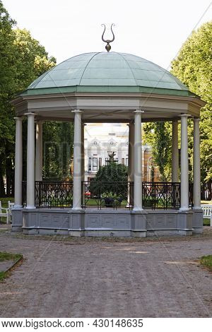 Gavle, Norrland Sweden - July 12, 2021: White Large Pavilion In The Middle Of The City Park
