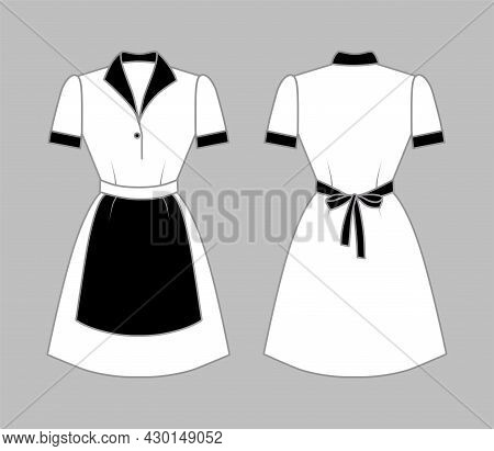 Maid Uniform Front And Back View. White Women Clothing With A Black Apron, Collar And Cuffs. Vector