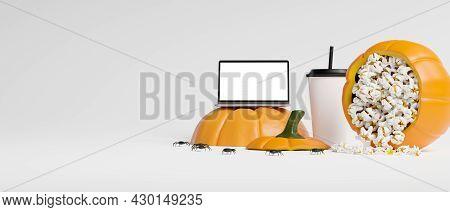 Laptop Blank Screen Mockup, Soda Drink, Spilled Popcorn In Pumpkin Bucket, Free Space For Text