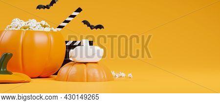 Halloween Movie Party Concept, Virtual Reality Headset, Pumpkin Popcorn Bucket, Orange Background