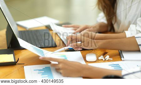 Two Businesswoman Brainstorming Briefing Business Financial