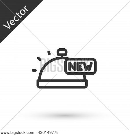 Grey Line Covered With A Tray Of Food Icon Isolated On White Background. Tray And Lid Sign. Restaura