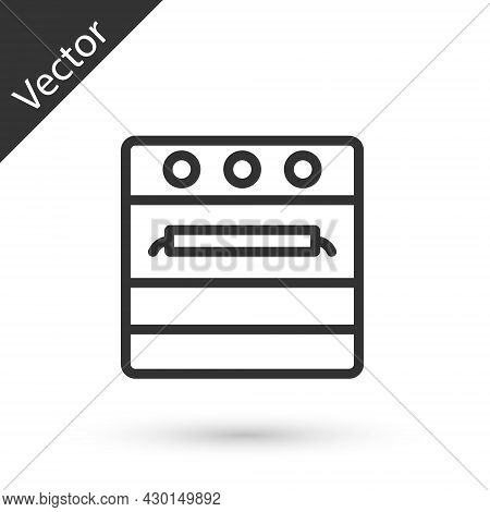 Grey Line Oven Icon Isolated On White Background. Stove Gas Oven Sign. Vector