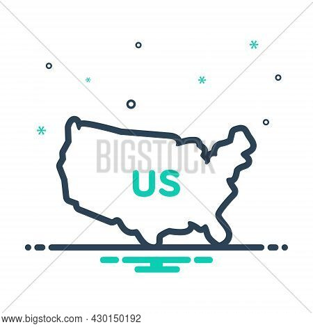 Mix Icon For Us Map Country States United Land Boundary