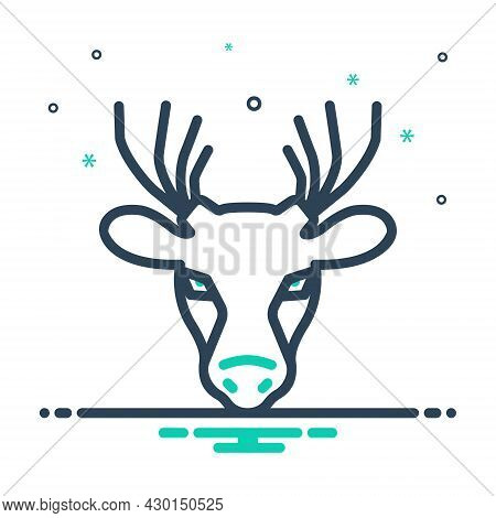 Mix Icon For Deer Mammal Reindeer Herbivores-animal Animal Antler Forest Horn Hunting Wildlife Face