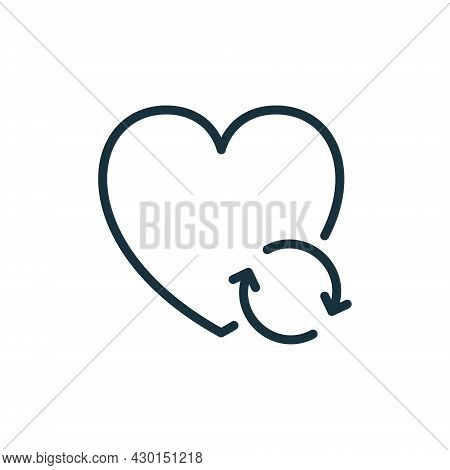 Transplant And Donate Of Heart With Arrow Line Icon. Recycle And Renovation Organ Linear Pictogram.
