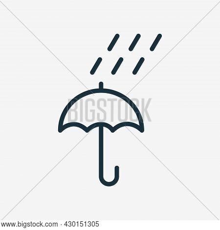 Umbrella Line Icon. Rain Concept Linear Pictogram. Umbrella Protective From Rain Outline Icon. Edita