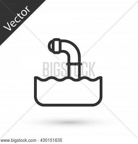 Grey Line Periscope In The Waves Above The Water Icon Isolated On White Background. Vector